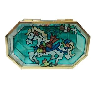 Vintage Jewellery Box ~Stained Glass Horse Design